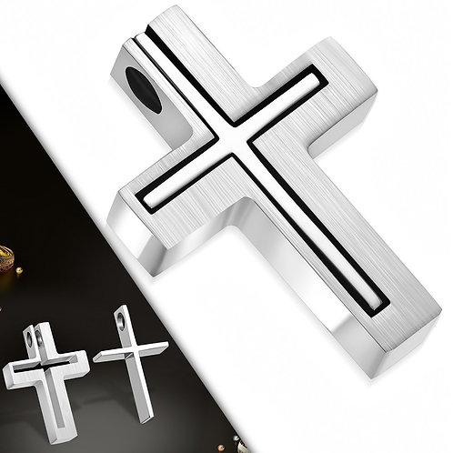 Stainless Steel 2-Piece Geometric Latin Cross Charm Pendant - AVP109