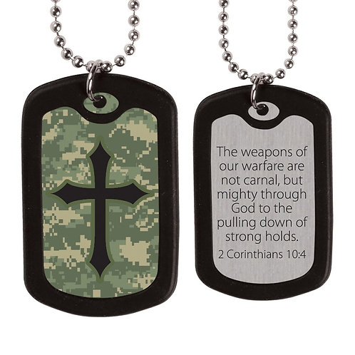 Digital Camo Cross Dog Tag