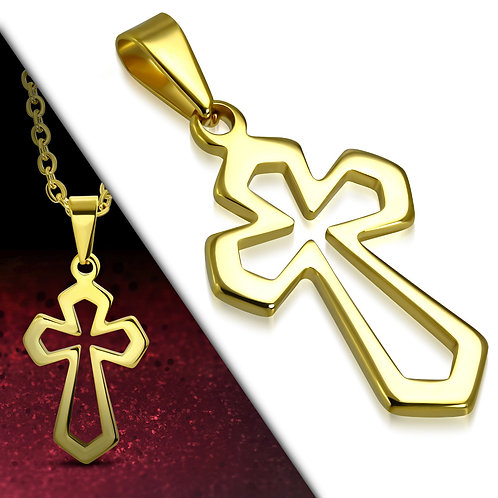 Gold Color Plated Stainless Steel Cut-Out Medieval Cross Charm Pendant - PCR709