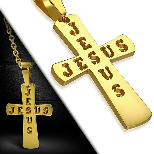 Gold Color Plated Stainless Steel Cut-Out Jesus Monogram Cross PCR551