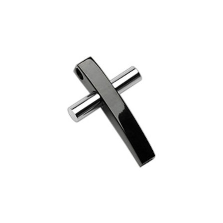 2 Tone Black and Sliver Cross 316L Stainless Steel W/Steel Ball Chain