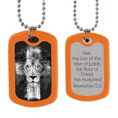 Lion Cross Dog Tag