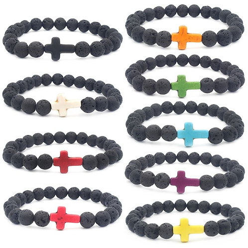 8mm black lava volcanic stone fashion cross stretch bracelet