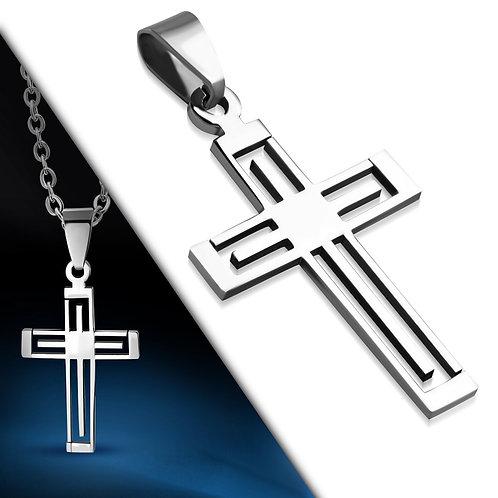 Stainless Steel Cut-Out Geometric Latin Cross Pendant - TPB089