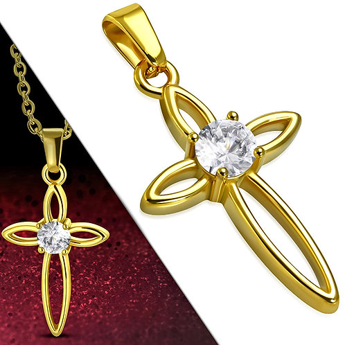 Gold Color Plated Stainless Steel Cut-Out Star Cross Charm Pendant W/Clear CZ