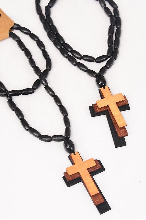 Necklace Beads Wood Triple Cross Color Asst