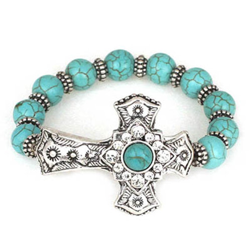 Natural Beads With Metal Antique Cross Bracelet