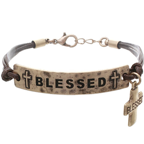 Waxed Cord With Metal Blessed Cross Bracelet