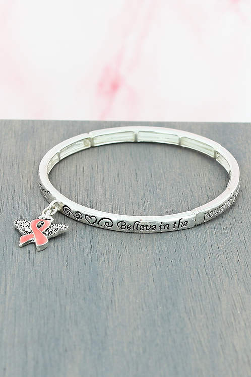 BREAST CANCER ANGEL BLESSING STRETCH BANGLE BRACELET WITH CHARM
