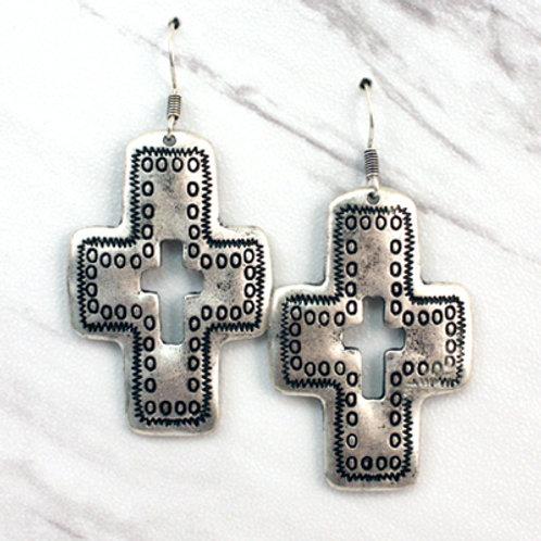 Antique Cutout Cross Earrings