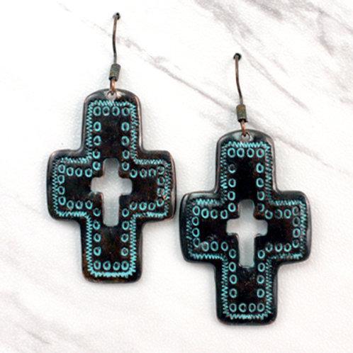 Patina Cutout Cross Earrings