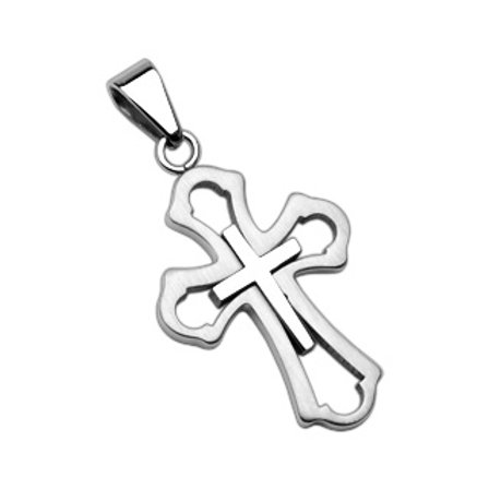 Cross within a Cross 316L Stainless Steel Pendant With Steel Ball Chain