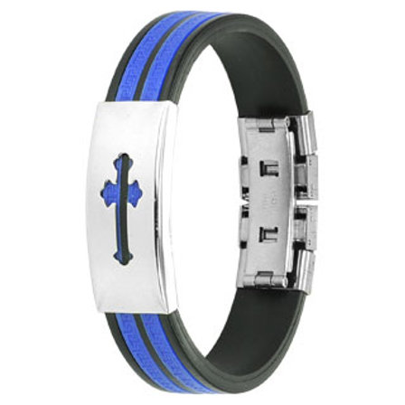 Stainless Steel Cut Out Cross With Blue And Black Rubber Bracelet