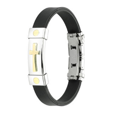 Stainless Steel Gold Color Cross With Black Rubber Bracelet