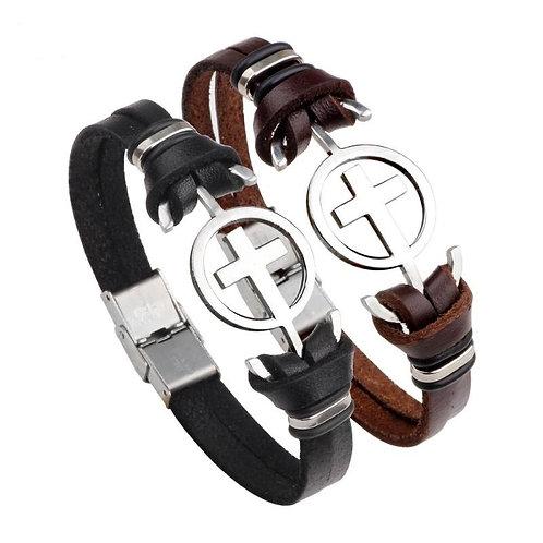 Unisex Bracelet leather & steel cross