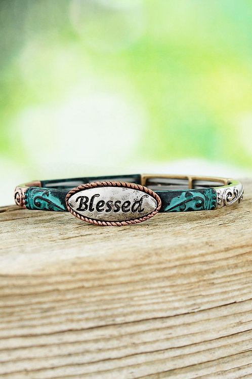 BURNISHED TRI-TONE AND PATINA 'BLESSED' SCROLL STRETCH BANGLE