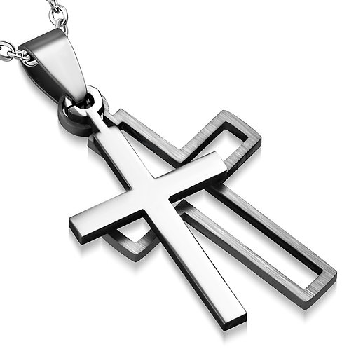 34mm   Stainless Steel 2-Part Cut-Out Latin Cross Pendant - TPB084