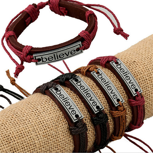 Believe Leather Bracelet With Colored Rope