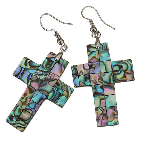 Shell Dangle Earrings Brass with Abalone Shell Cross silver color plated