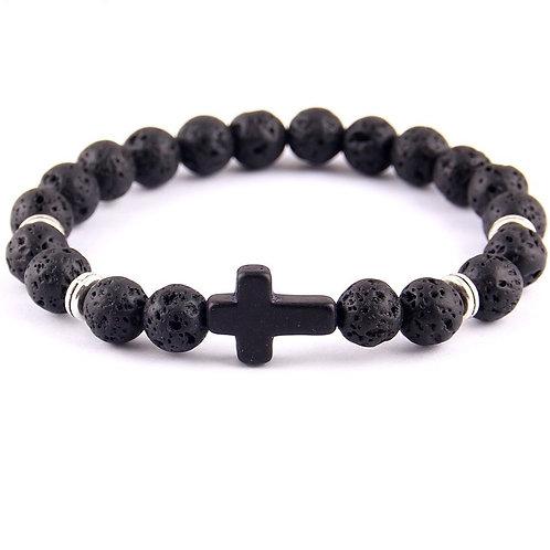 Black Nature Stone Lava Stone Bead Cross Charm Bracelet