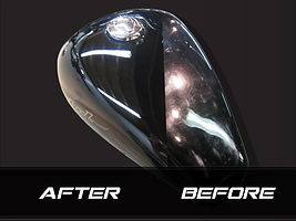 Before and after buffing on a motorcycle tank