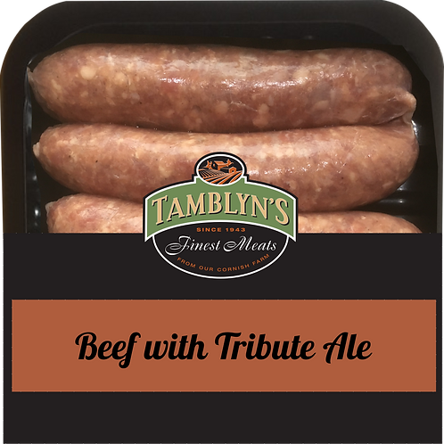 BEEF SAUSAGES WITH TRIBUTE ALE