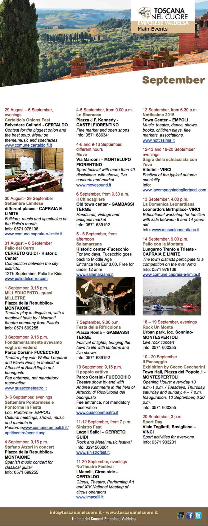 IN THE HEART OF TUSCANY - SEPTEMBER - EVENTS
