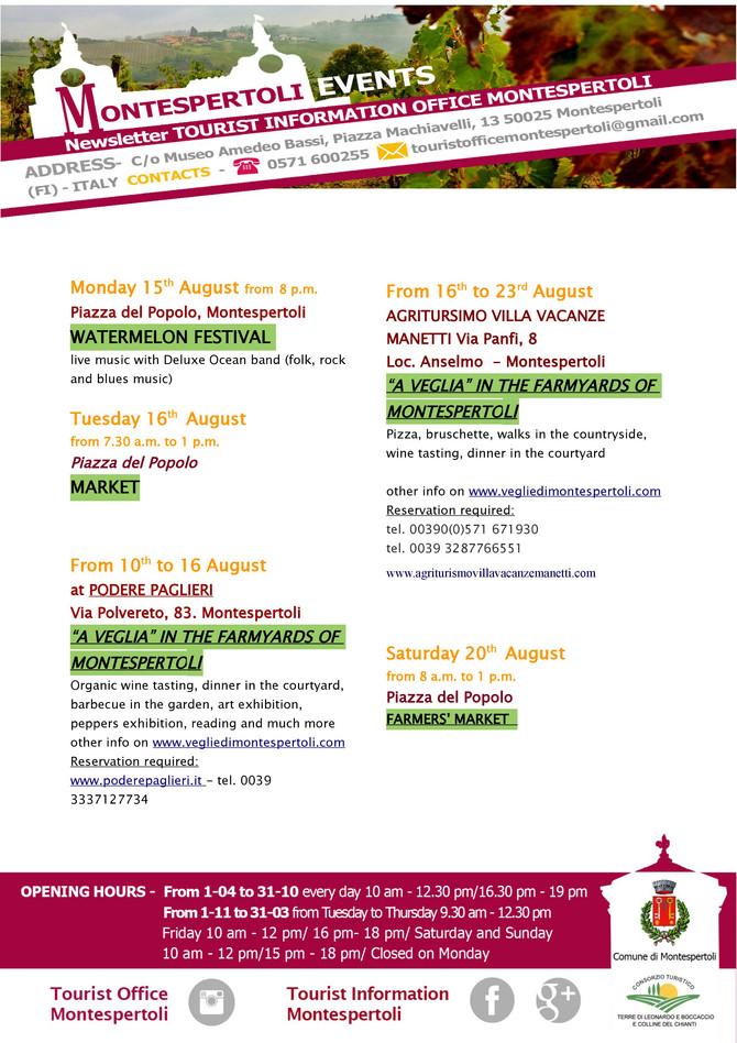 MONTESPERTOLI EVENTS AUGUST 2016