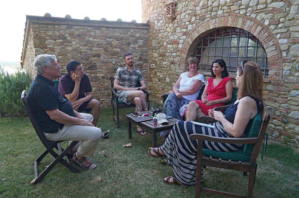 John and Sue Harman's family in endless talk at Villa Tuscany
