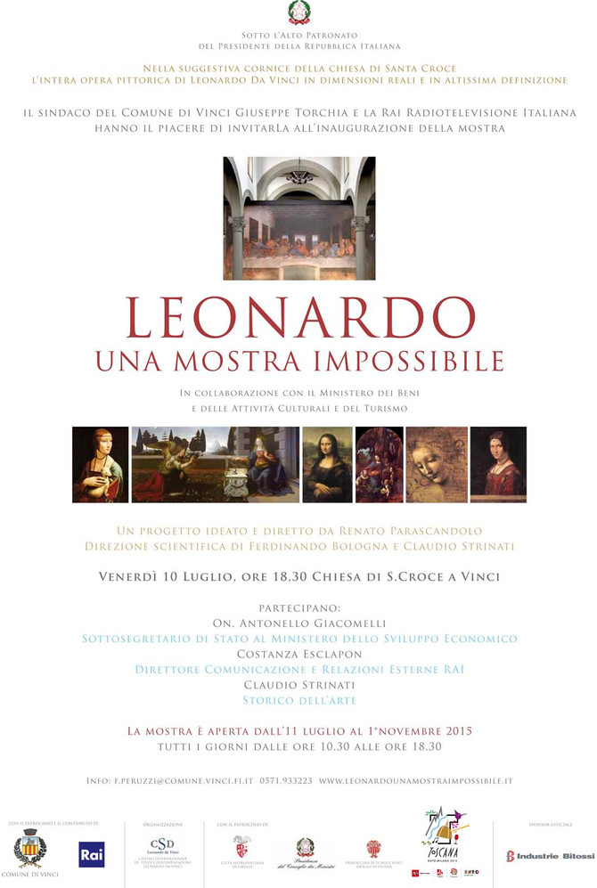 LEONARDO DA VINCI'S EXHIBITION from July 11th to November 1st, 2015