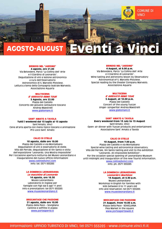 EVENTS AUGUST 2016 IN VINCI