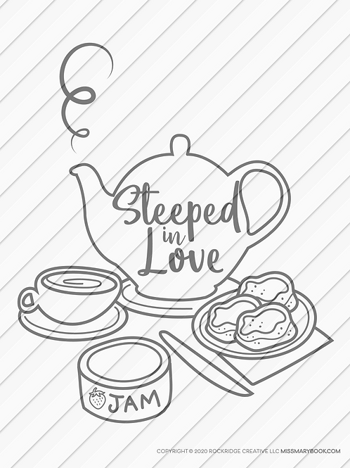 Print-at-home coloring booklet page Steeped in Love tea pot and scones