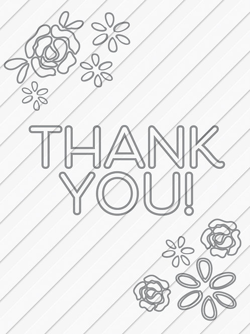 Print-at-home thank you card with flowers