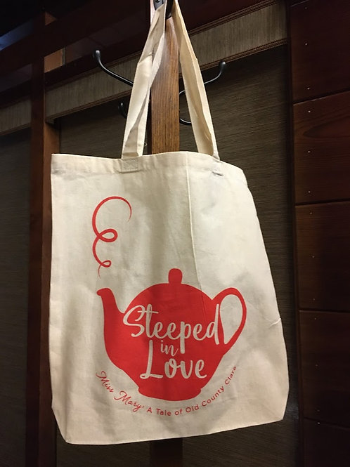 Canvas book tote with Steeped in Love tea pot for Miss Mary A Tale of Old County Clare