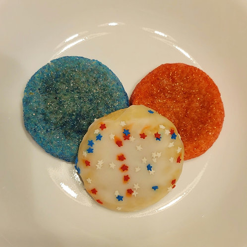 GF Red & Blue Colored and Star-Spangled Iced Sugar Cookie Medley
