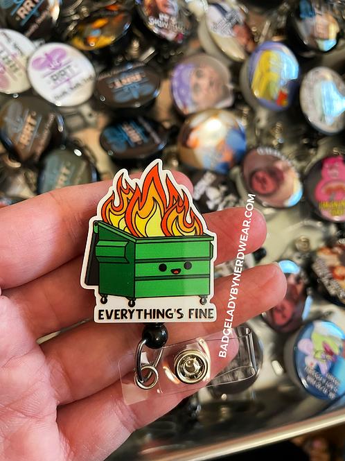Dumpster Fire Cutout - Everything's Fine