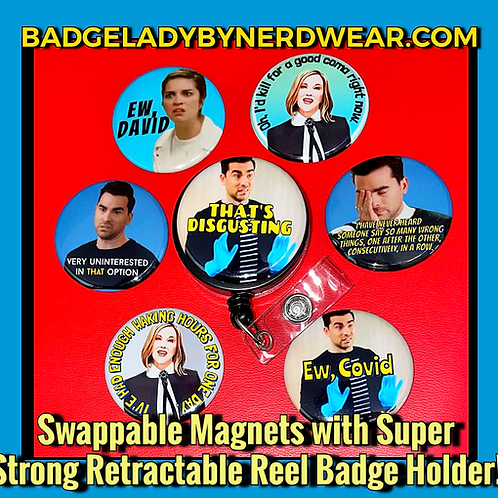 Schitt's Creek - 8 Piece Set includes magnetized badge holder w 7 swappable tops