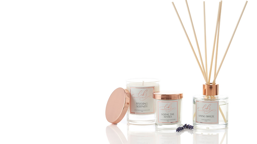 Aromatherapy candles and home fragrances on a white background