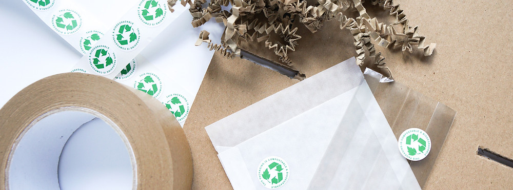A flat lay of eco-friendly packing materials.