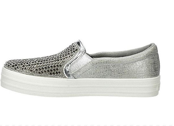 SLIP-ON SKECHERS 637 ARGENTO, MEMORY FOAM
