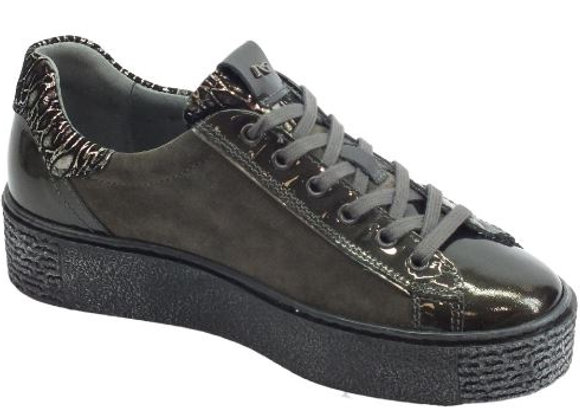SNEAKER DONNA NERO GIARDINI A909960D IN PELLE GRAFITE, MADE IN ITALY