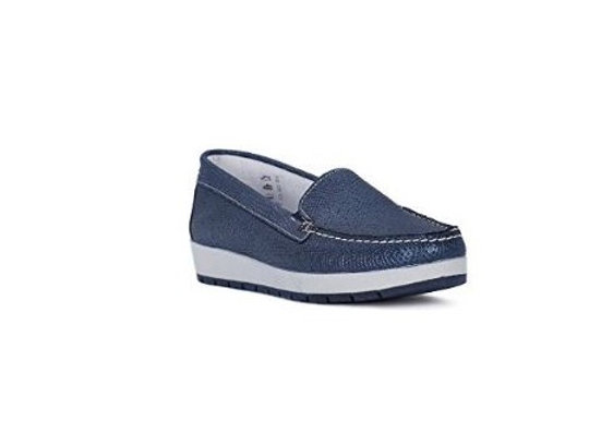MOCASSINO IGI&CO 1138222 PELLE LAMINATA BLU, MADE IN ITALY