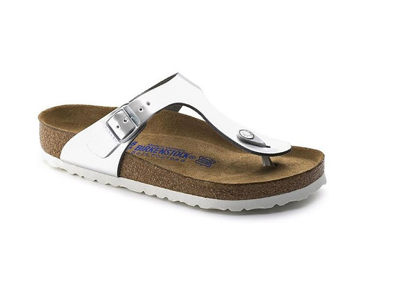 INFRADITO BIRKENSTOCK METALLIC SILVER 1003674, VERA PELLE, MADE IN GERMANY