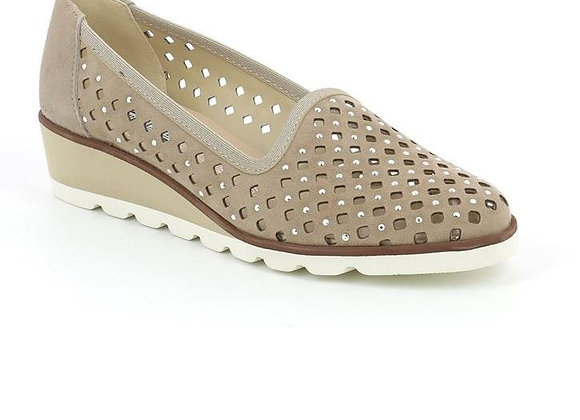 SCARPA SLIP-ON GRUNLAND SC3811 PELLE TAUPE, MADE IN ITALY, SUPERLEGGERA
