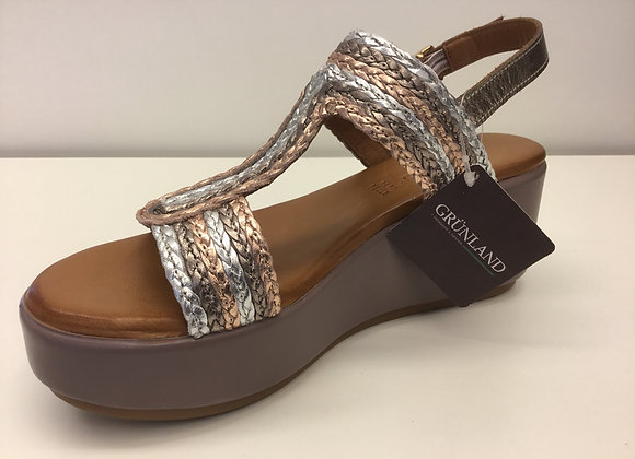 SANDALO DONNA GRUNLAND SA2489 TAUPE-MULTI, MADE IN ITALY