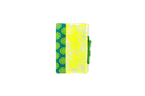 "Protège-carnet A6 "" vert et jaune fluo"""