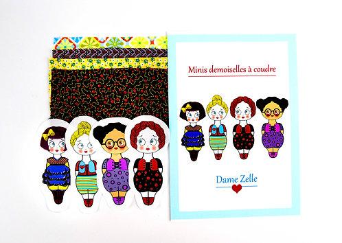 """Kit de couture """" 4 minis demoiselles Prunelle """""""
