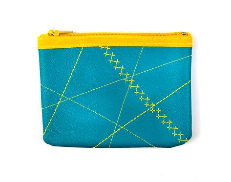 Porte-monnaie bleu/jaune