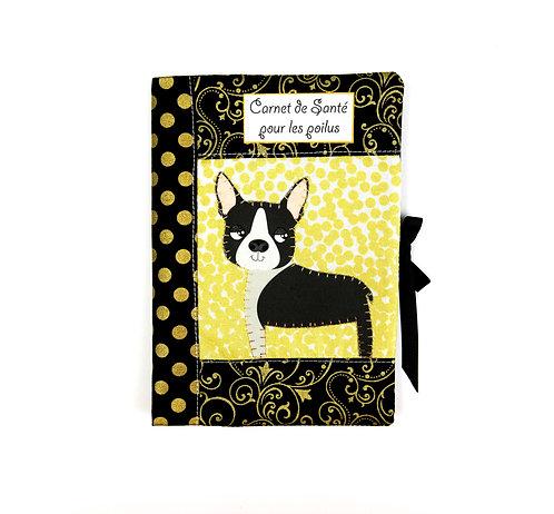 """Protège carnet de santé pour chien """"noir et blanc """""""