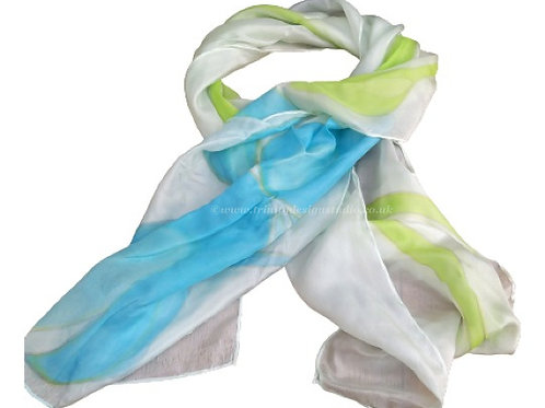 Blue and green silk scarf
